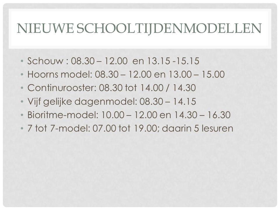 NIEUWE SCHOOLTIJDENMODELLEN Schouw : 08.30 – 12.00 en 13.15 -15.15 Hoorns model: 08.30 – 12.00 en 13.00 – 15.00 Continurooster: 08.30 tot 14.00 / 14.30 Vijf gelijke dagenmodel: 08.30 – 14.15 Bioritme-model: 10.00 – 12.00 en 14.30 – 16.30 7 tot 7-model: 07.00 tot 19.00; daarin 5 lesuren
