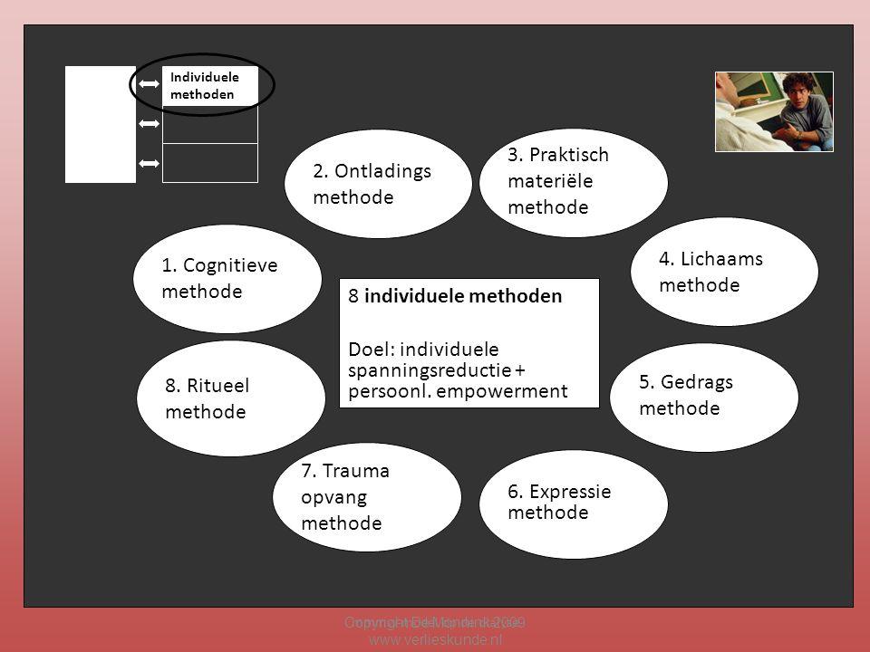 mmmw-model op de dialyse Copyright De Mönnink 2009 www.verlieskunde.nl Individuele methoden 1. Cognitieve methode 3. Praktisch materiële methode 6. Ex