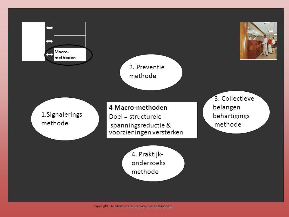 mmmw-model op de dialyse Copyright De Mönnink 2009 www.verlieskunde.nl Macro- methoden 4. Praktijk- onderzoeks methode 1.Signalerings methode 3. Colle