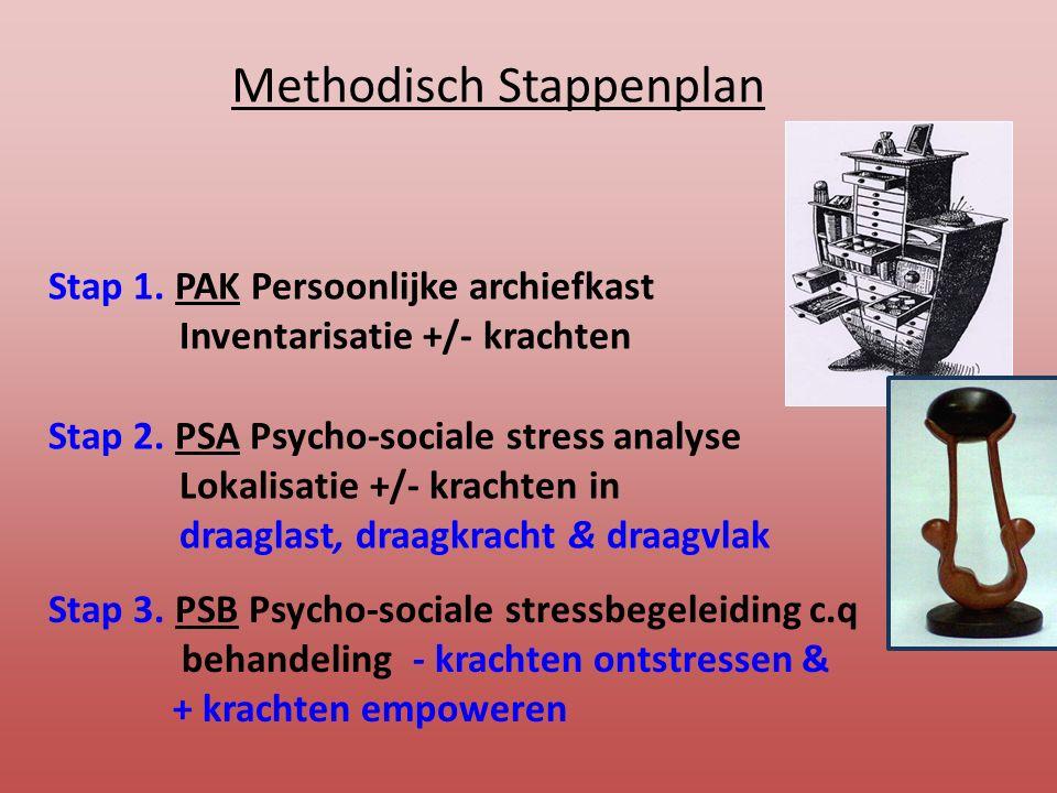 Methodisch Stappenplan Stap 1. PAK Persoonlijke archiefkast Inventarisatie +/- krachten Stap 2. PSA Psycho-sociale stress analyse Lokalisatie +/- krac