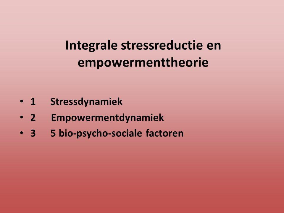Integrale stressreductie en empowermenttheorie 1 Stressdynamiek 2 Empowermentdynamiek 3 5 bio-psycho-sociale factoren