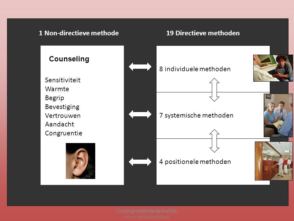 mmmw-model op de dialyse Copyright De Mönnink 2009 www.verlieskunde.nl Sensitiviteit Warmte Begrip Bevestiging Vertrouwen Aandacht Congruentie 8 individuele methoden 7 systemische methoden 4 positionele methoden 1 Non-directieve methode19 Directieve methoden Counseling