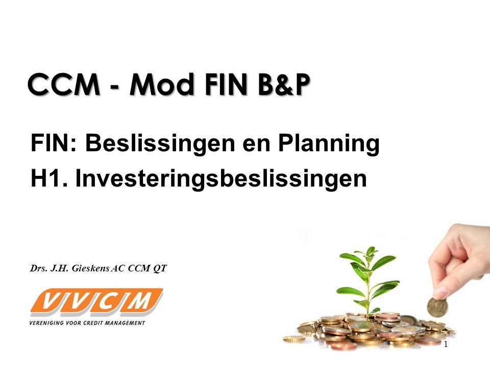1 CCM - Mod FIN B&P FIN: Beslissingen en Planning H1.
