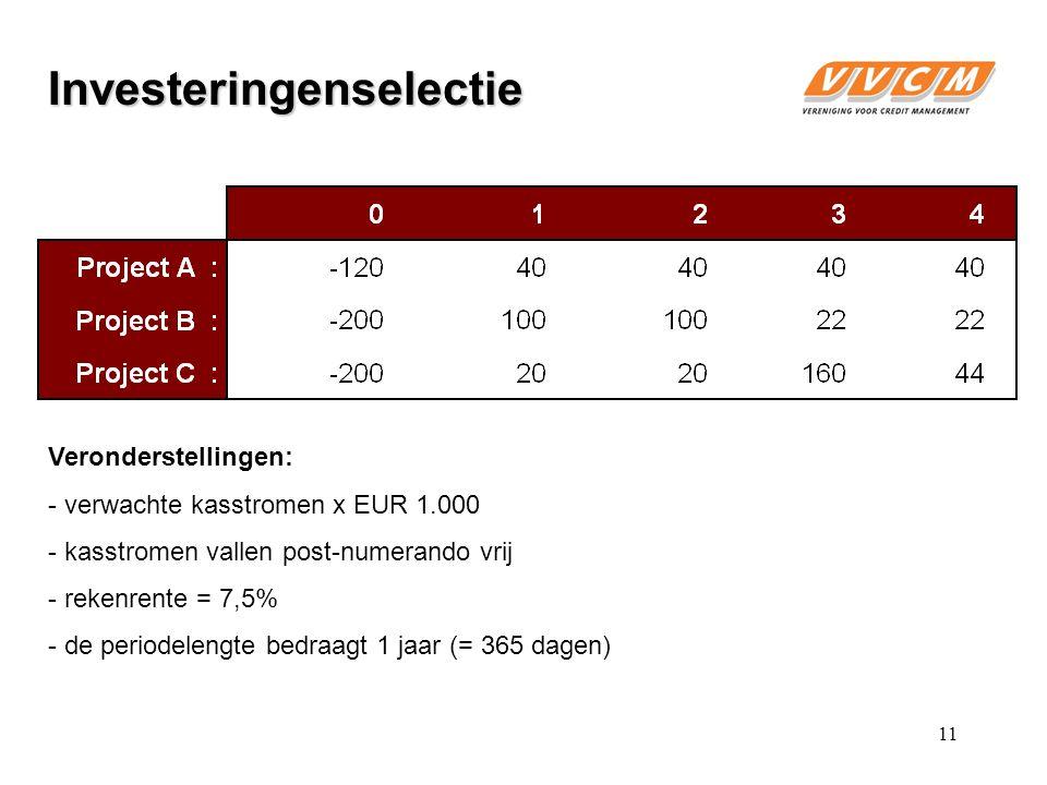 Veronderstellingen: - verwachte kasstromen x EUR 1.000 - kasstromen vallen post-numerando vrij - rekenrente = 7,5% - de periodelengte bedraagt 1 jaar (= 365 dagen) Investeringenselectie 11