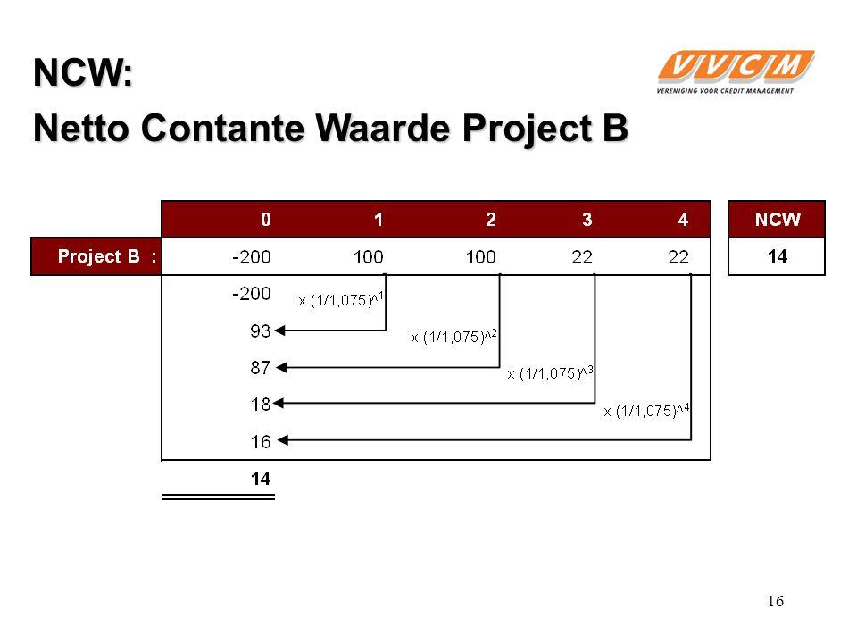NCW: Netto Contante Waarde Project B 16