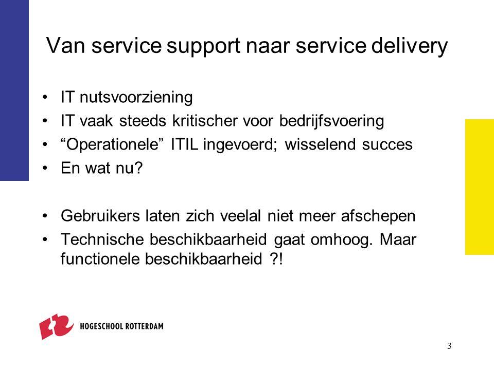 3 Van service support naar service delivery IT nutsvoorziening IT vaak steeds kritischer voor bedrijfsvoering Operationele ITIL ingevoerd; wisselend succes En wat nu.