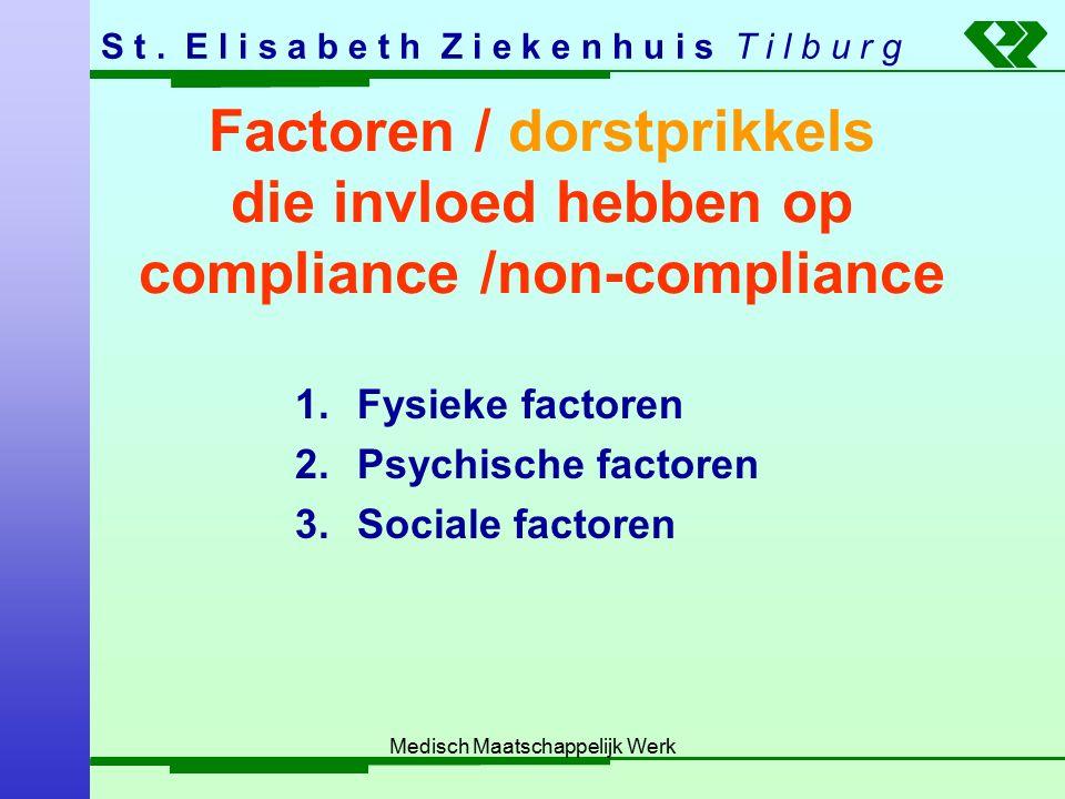 S t. E l i s a b e t h Z i e k e n h u i s T i l b u r g Medisch Maatschappelijk Werk Factoren / dorstprikkels die invloed hebben op compliance /non-c