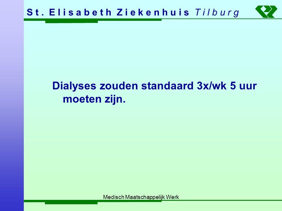 S t. E l i s a b e t h Z i e k e n h u i s T i l b u r g Medisch Maatschappelijk Werk Dialyses zouden standaard 3x/wk 5 uur moeten zijn.