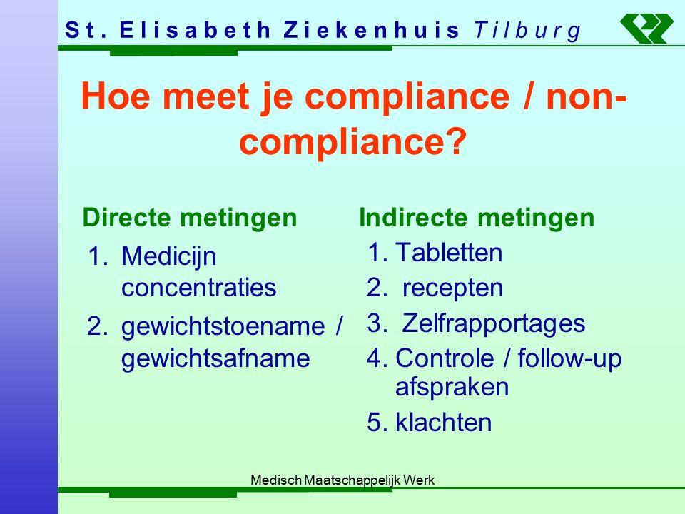 S t. E l i s a b e t h Z i e k e n h u i s T i l b u r g Medisch Maatschappelijk Werk Hoe meet je compliance / non- compliance? Directe metingen 1.Med
