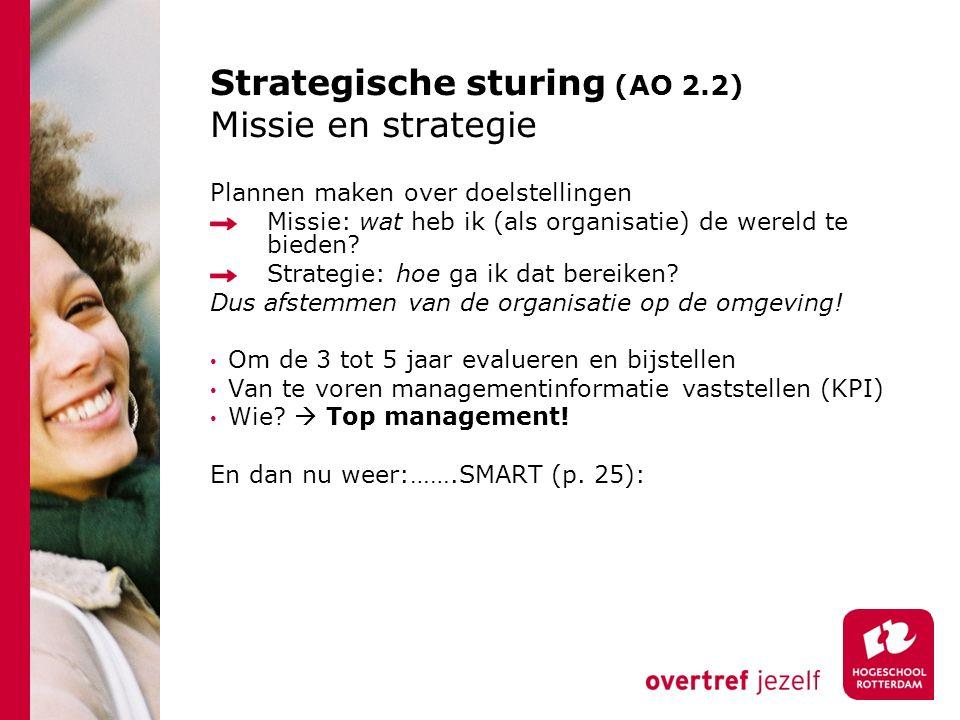 Strategische sturing (AO 2.2) Missie en strategie Plannen maken over doelstellingen Missie: wat heb ik (als organisatie) de wereld te bieden? Strategi