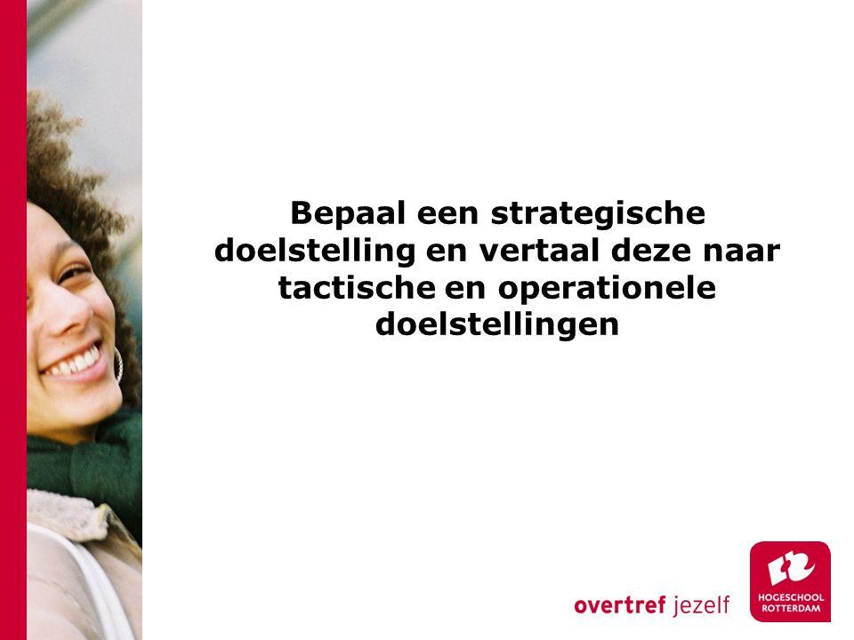Bepaal een strategische doelstelling en vertaal deze naar tactische en operationele doelstellingen