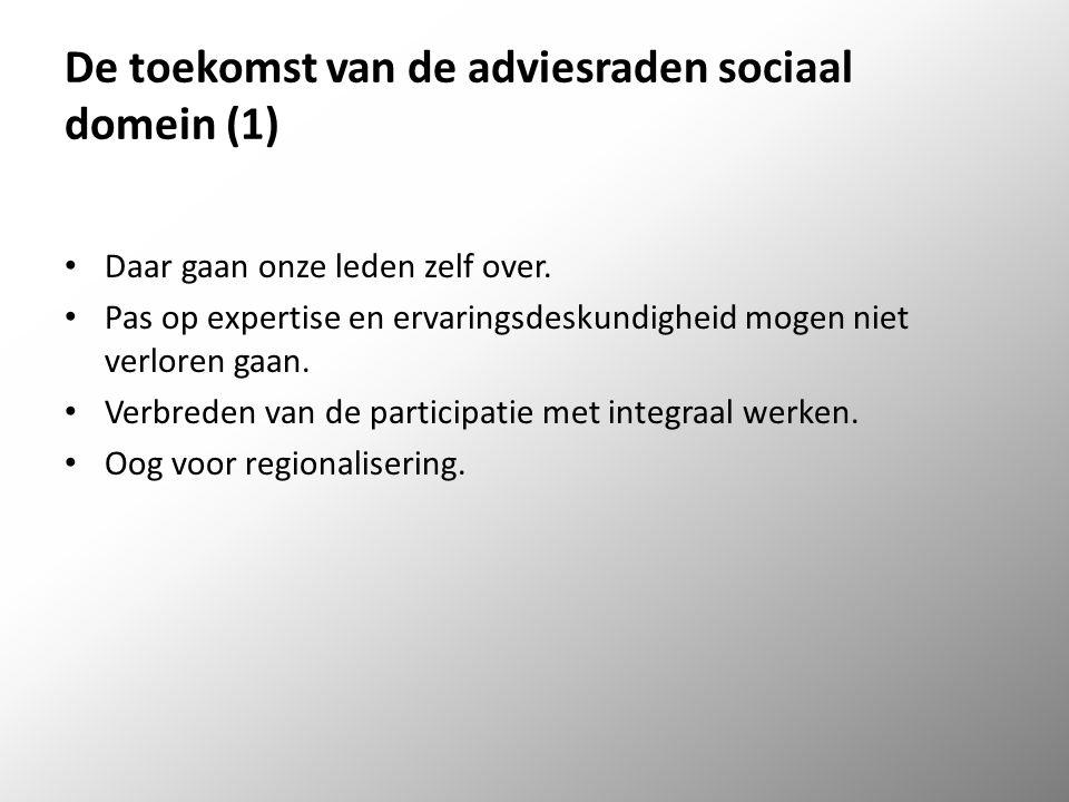 De toekomst van de adviesraden sociaal domein (1) Daar gaan onze leden zelf over.