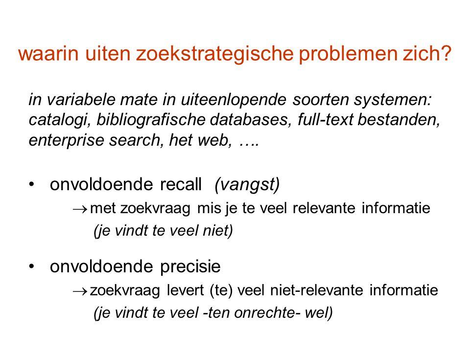 waarin uiten zoekstrategische problemen zich? in variabele mate in uiteenlopende soorten systemen: catalogi, bibliografische databases, full-text best