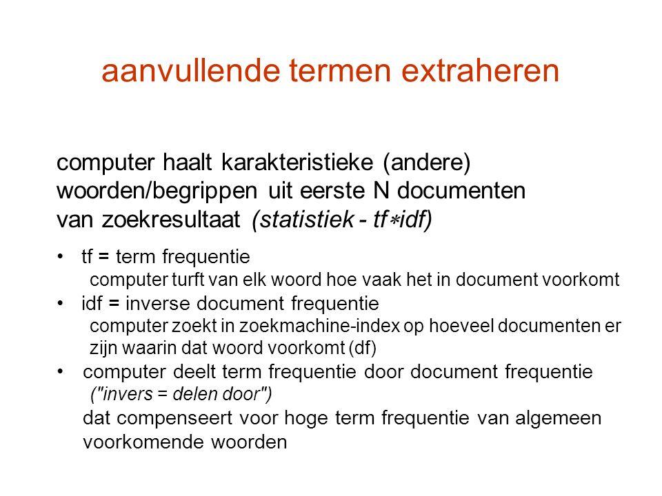 aanvullende termen extraheren computer haalt karakteristieke (andere) woorden/begrippen uit eerste N documenten van zoekresultaat (statistiek - tf  i