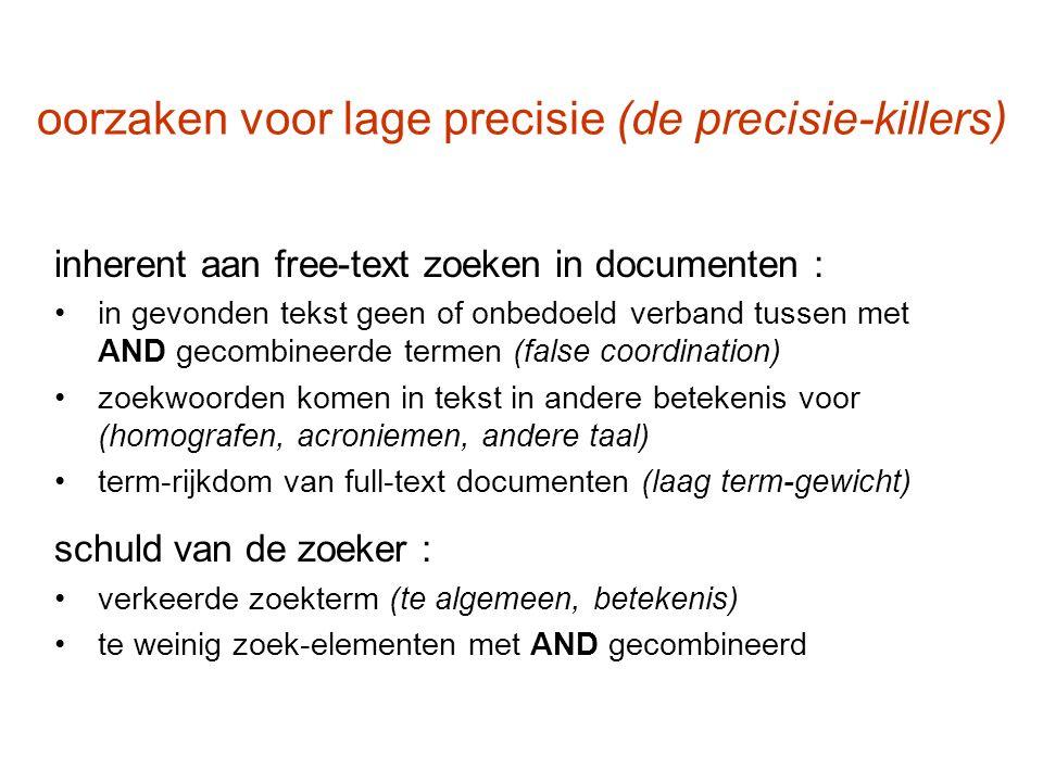 oorzaken voor lage precisie (de precisie-killers) inherent aan free-text zoeken in documenten : in gevonden tekst geen of onbedoeld verband tussen met