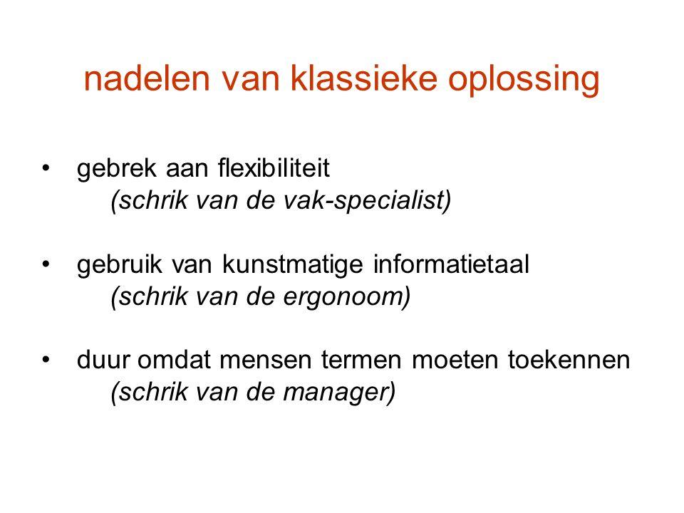 nadelen van klassieke oplossing gebrek aan flexibiliteit (schrik van de vak-specialist) gebruik van kunstmatige informatietaal (schrik van de ergonoom