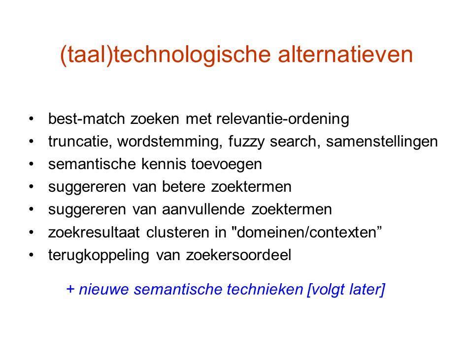 (taal)technologische alternatieven best-match zoeken met relevantie-ordening truncatie, wordstemming, fuzzy search, samenstellingen semantische kennis