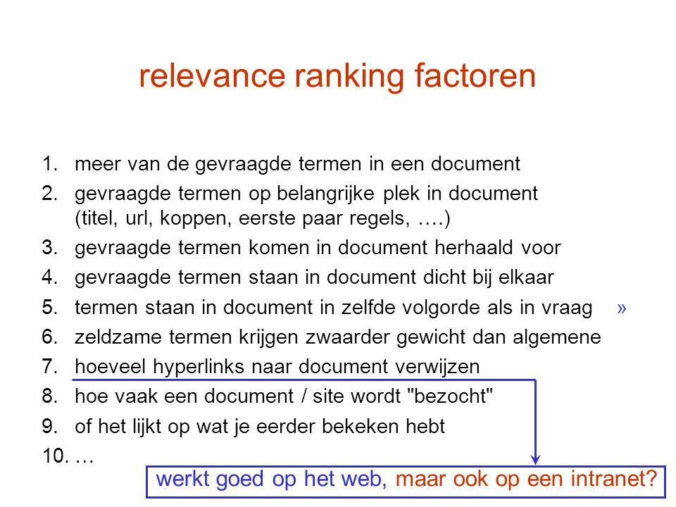 relevance ranking factoren 1.meer van de gevraagde termen in een document 2.gevraagde termen op belangrijke plek in document (titel, url, koppen, eers