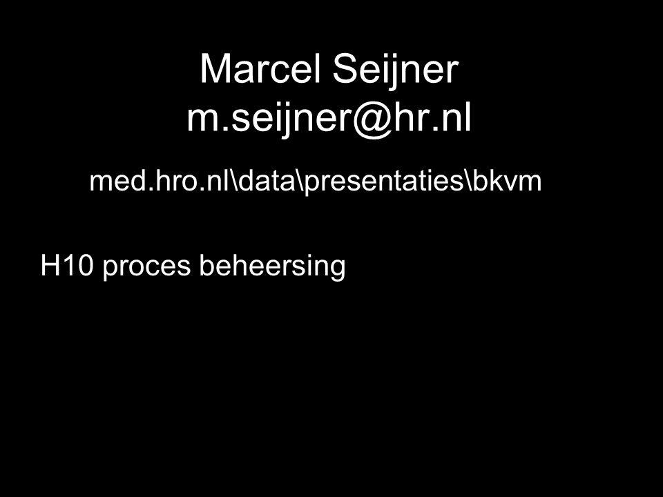 Marcel Seijner m.seijner@hr.nl Mmed.hro.nl\data\presentaties\bkvm H10 proces beheersing