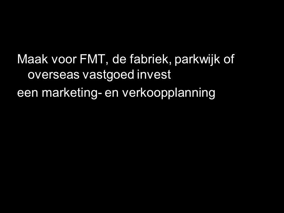 Maak voor FMT, de fabriek, parkwijk of overseas vastgoed invest een marketing- en verkoopplanning