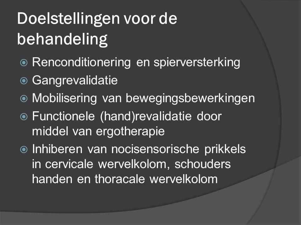 Doelstellingen voor de behandeling  Renconditionering en spierversterking  Gangrevalidatie  Mobilisering van bewegingsbewerkingen  Functionele (ha