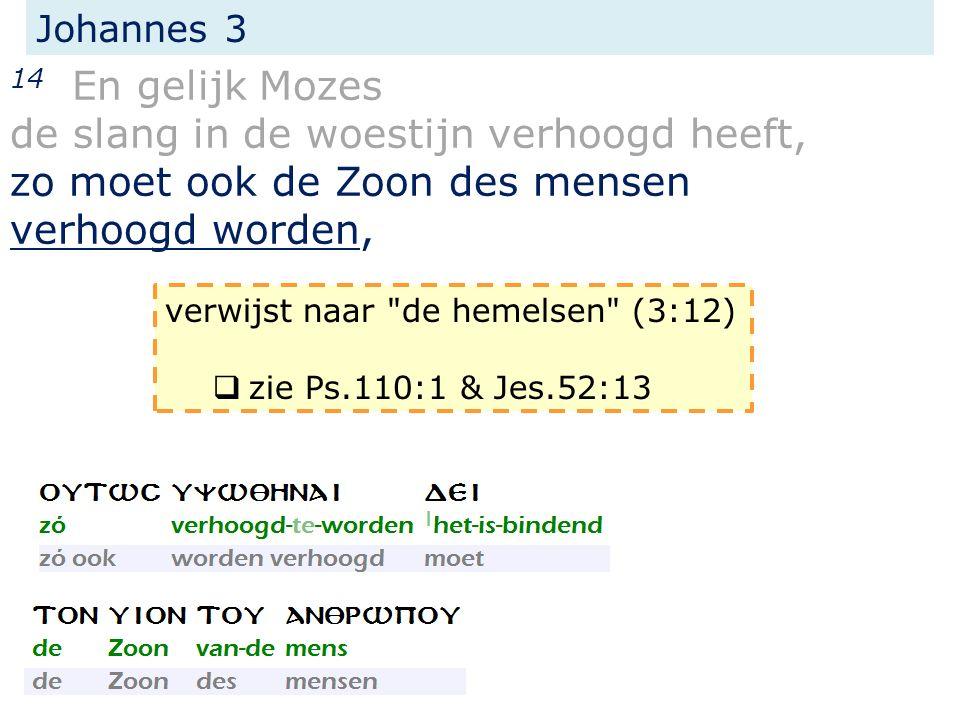 Johannes 3 14 En gelijk Mozes de slang in de woestijn verhoogd heeft, zo moet ook de Zoon des mensen verhoogd worden, verwijst naar de hemelsen (3:12)  zie Ps.110:1 & Jes.52:13
