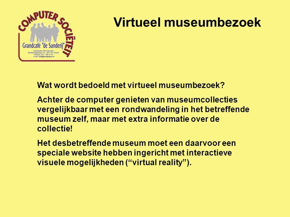 Virtueel museumbezoek Wat wordt bedoeld met virtueel museumbezoek.
