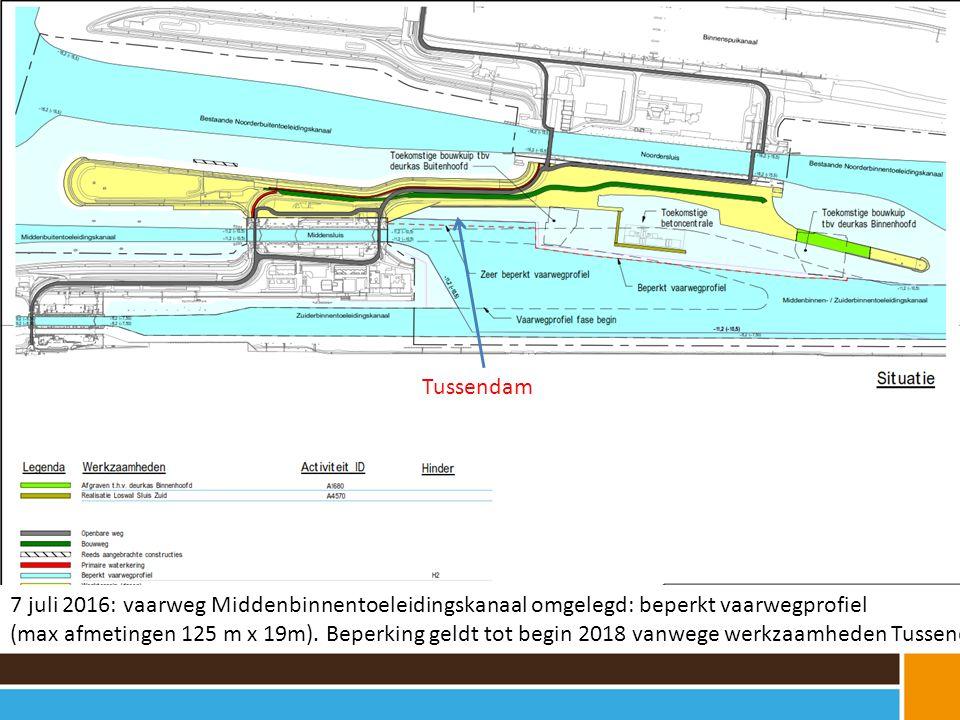 7 juli 2016: vaarweg Middenbinnentoeleidingskanaal omgelegd: beperkt vaarwegprofiel (max afmetingen 125 m x 19m).