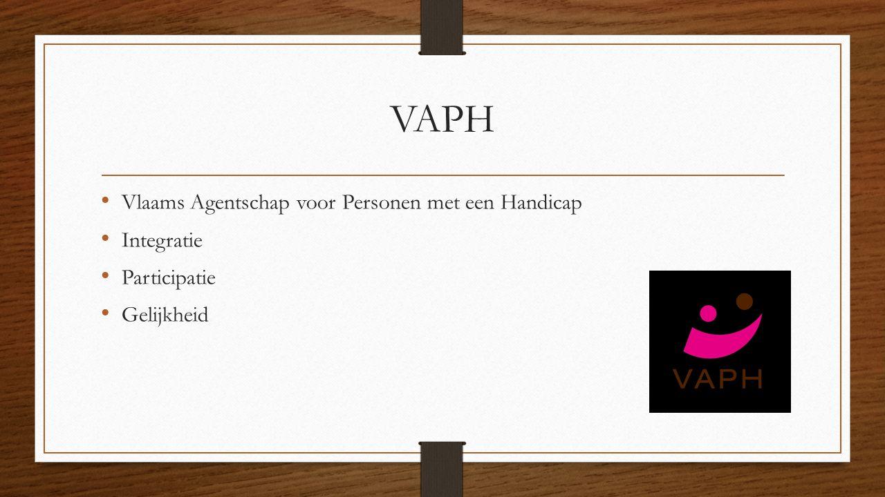 VAPH Vlaams Agentschap voor Personen met een Handicap Integratie Participatie Gelijkheid