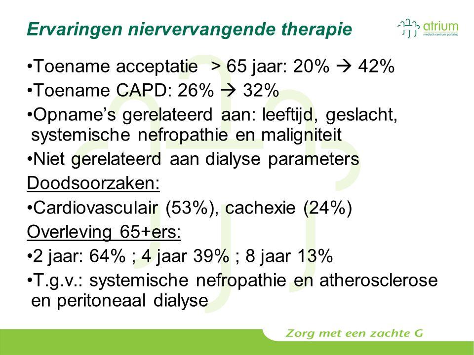 Ervaringen niervervangende therapie Toename acceptatie > 65 jaar: 20%  42% Toename CAPD: 26%  32% Opname's gerelateerd aan: leeftijd, geslacht, syst