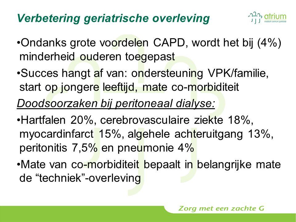 Verbetering geriatrische overleving Ondanks grote voordelen CAPD, wordt het bij (4%) minderheid ouderen toegepast Succes hangt af van: ondersteuning V