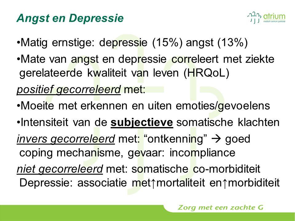 Angst en Depressie Matig ernstige: depressie (15%) angst (13%) Mate van angst en depressie correleert met ziekte gerelateerde kwaliteit van leven (HRQ