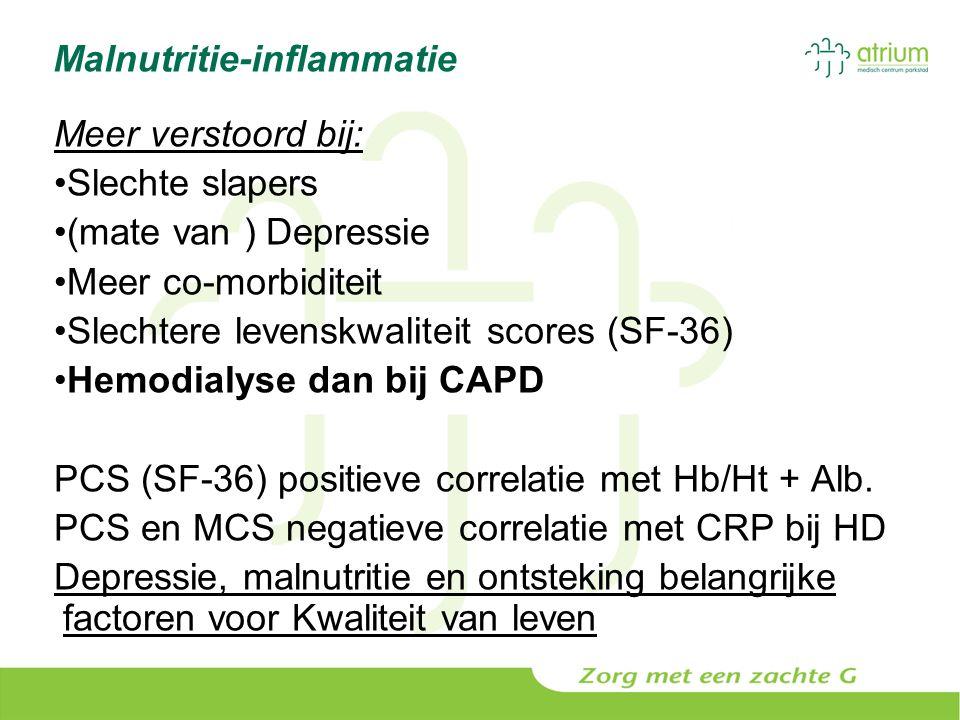 Malnutritie-inflammatie Meer verstoord bij: Slechte slapers (mate van ) Depressie Meer co-morbiditeit Slechtere levenskwaliteit scores (SF-36) Hemodia