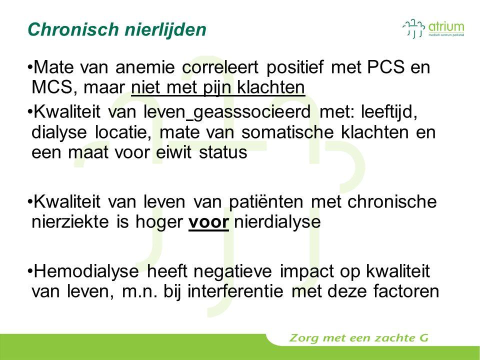 Chronisch nierlijden Mate van anemie correleert positief met PCS en MCS, maar niet met pijn klachten Kwaliteit van leven geasssocieerd met: leeftijd,