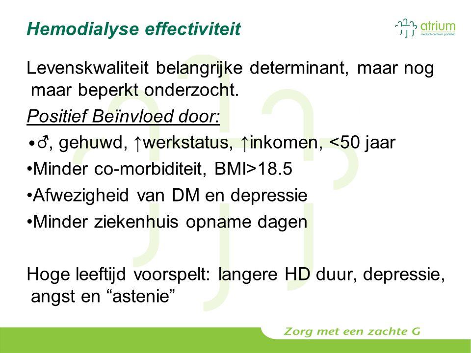 Hemodialyse effectiviteit Levenskwaliteit belangrijke determinant, maar nog maar beperkt onderzocht. Positief Beïnvloed door: ♂, gehuwd, ↑werkstatus,