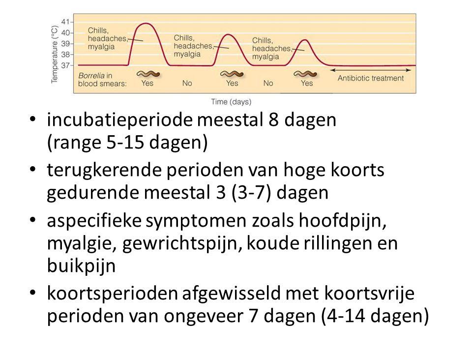 incubatieperiode meestal 8 dagen (range 5-15 dagen) terugkerende perioden van hoge koorts gedurende meestal 3 (3-7) dagen aspecifieke symptomen zoals