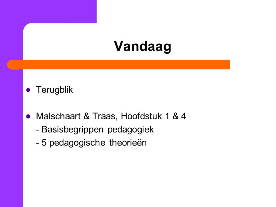 Vandaag Terugblik Malschaart & Traas, Hoofdstuk 1 & 4 - Basisbegrippen pedagogiek - 5 pedagogische theorieën