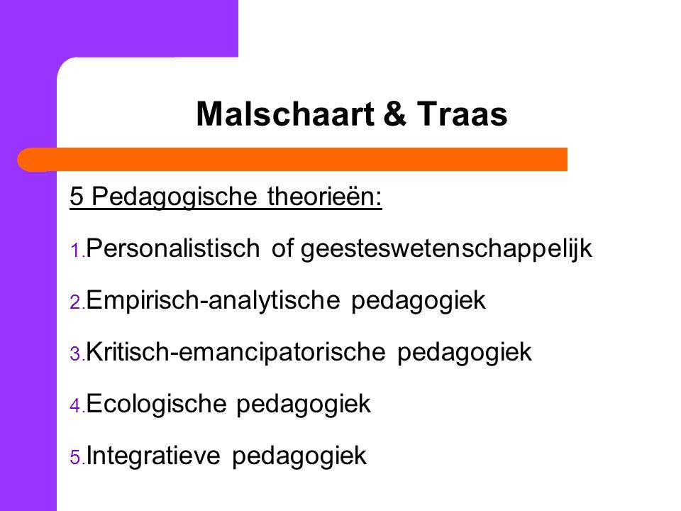 Malschaart & Traas 5 Pedagogische theorieën: 1.Personalistisch of geesteswetenschappelijk 2.