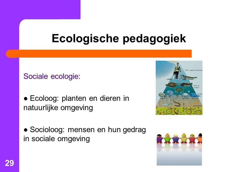 29 Ecologische pedagogiek Sociale ecologie: Ecoloog: planten en dieren in natuurlijke omgeving Socioloog: mensen en hun gedrag in sociale omgeving