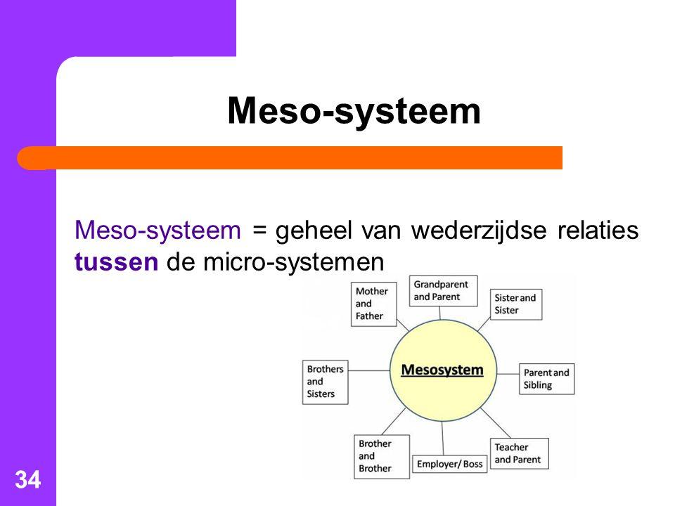 34 Meso-systeem Meso-systeem = geheel van wederzijdse relaties tussen de micro-systemen