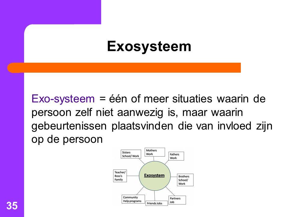 35 Exosysteem Exo-systeem = één of meer situaties waarin de persoon zelf niet aanwezig is, maar waarin gebeurtenissen plaatsvinden die van invloed zijn op de persoon