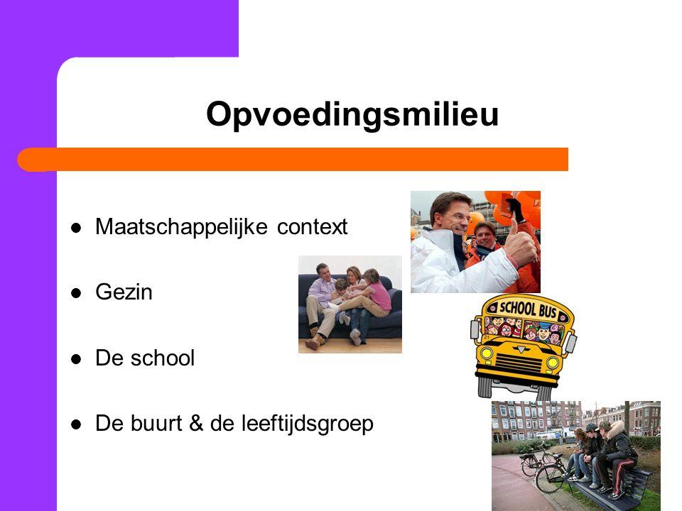 Opvoedingsmilieu Maatschappelijke context Gezin De school De buurt & de leeftijdsgroep