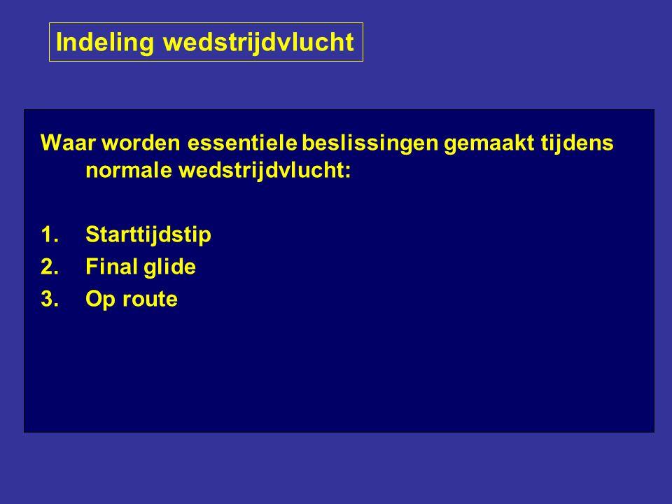 Waar worden essentiele beslissingen gemaakt tijdens normale wedstrijdvlucht: 1.Starttijdstip 2.Final glide 3.Op route Indeling wedstrijdvlucht