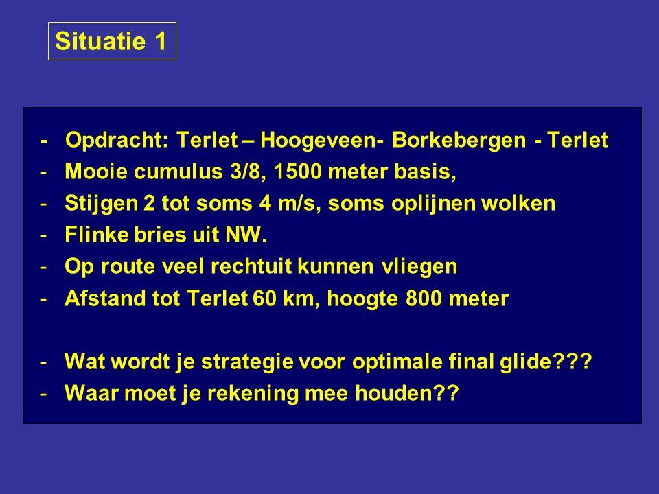 - Opdracht: Terlet – Hoogeveen- Borkebergen - Terlet -Mooie cumulus 3/8, 1500 meter basis, -Stijgen 2 tot soms 4 m/s, soms oplijnen wolken -Flinke bries uit NW.