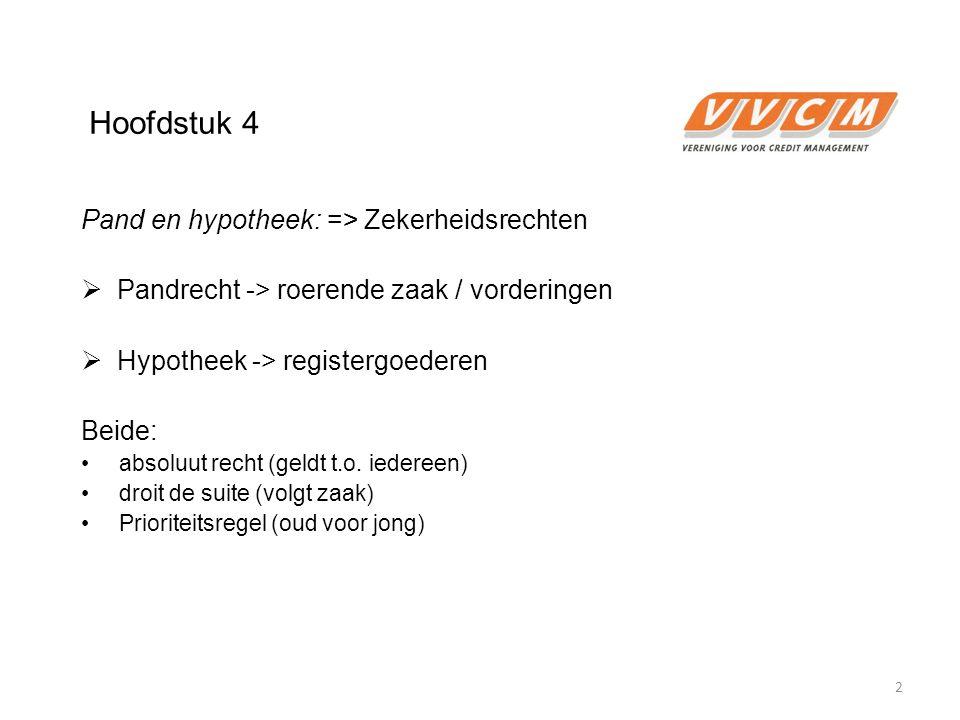 Hoofdstuk 4 Pand en hypotheek: => Zekerheidsrechten  Pandrecht -> roerende zaak / vorderingen  Hypotheek -> registergoederen Beide: absoluut recht (geldt t.o.