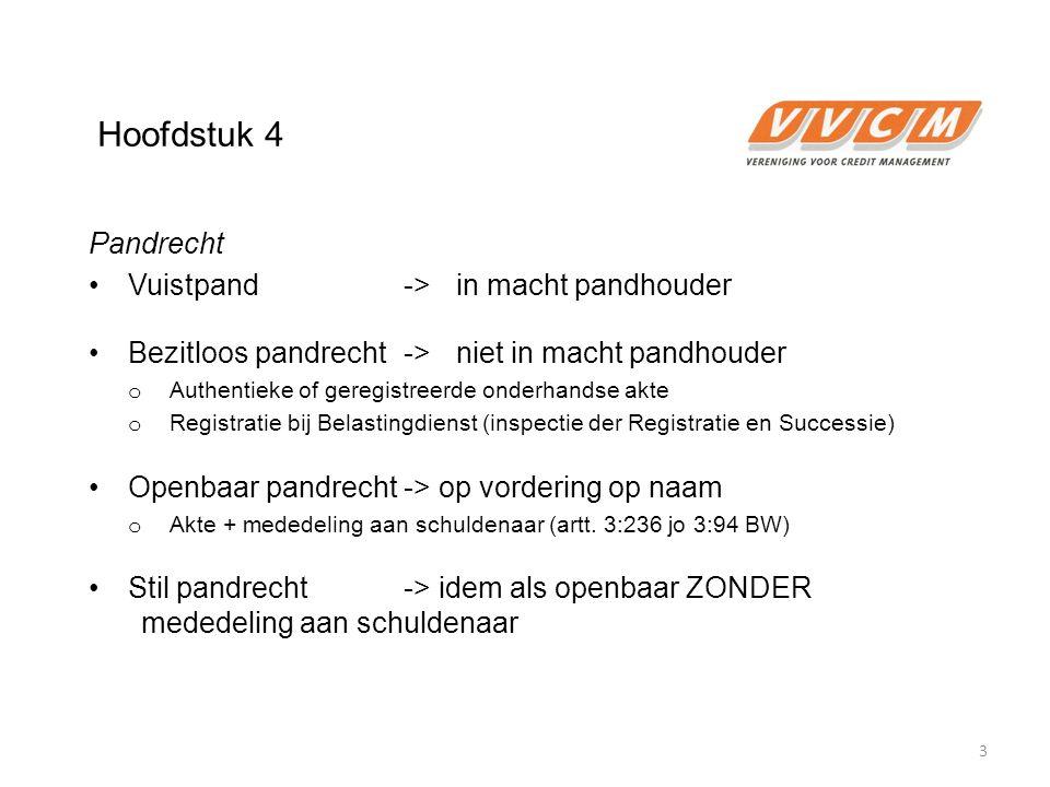 Hoofdstuk 4 Pandrecht Vuistpand->in macht pandhouder Bezitloos pandrecht ->niet in macht pandhouder o Authentieke of geregistreerde onderhandse akte o
