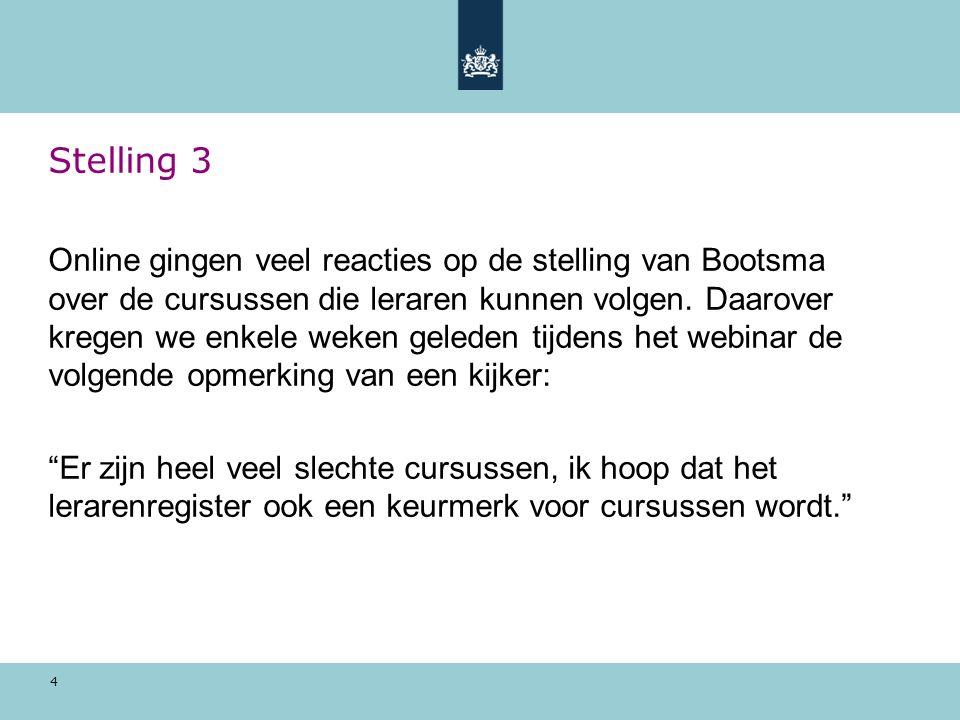 4 Stelling 3 Online gingen veel reacties op de stelling van Bootsma over de cursussen die leraren kunnen volgen.