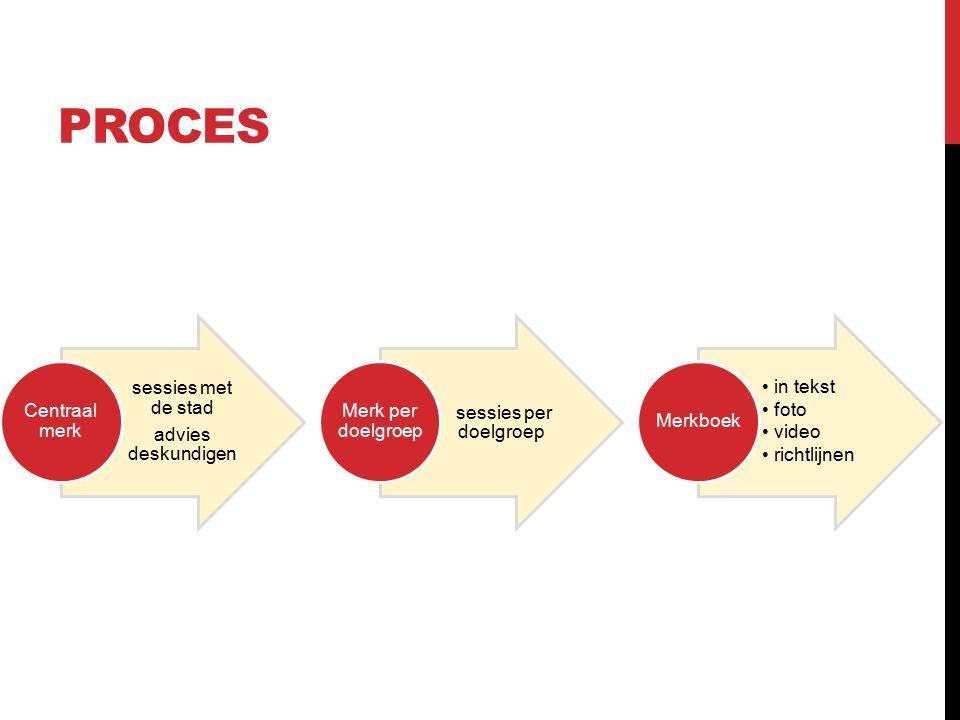 sessies met de stad advies deskundigen Centraal merk sessies per doelgroep Merk per doelgroep in tekst foto video richtlijnen Merkboek PROCES