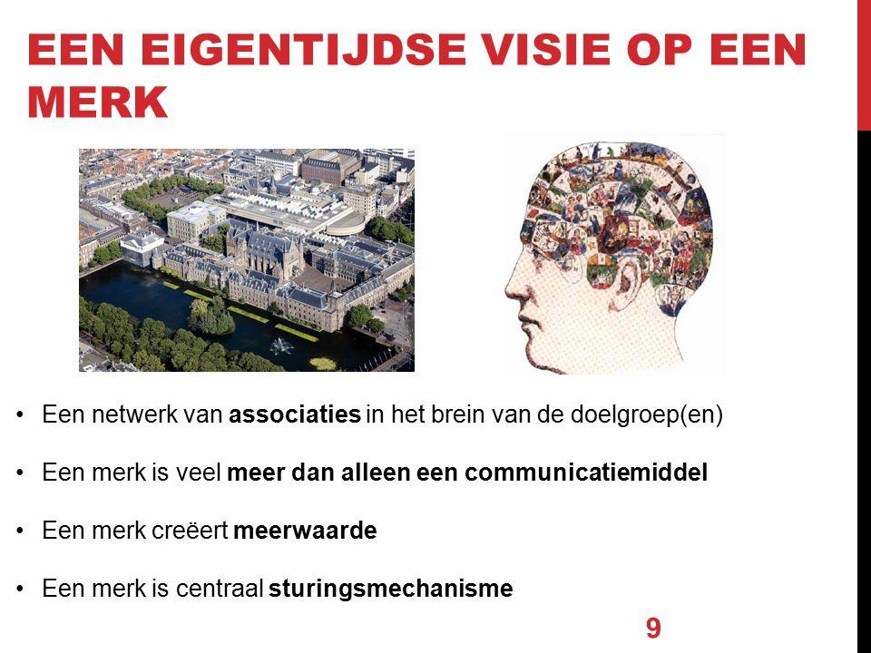 Een netwerk van associaties in het brein van de doelgroep(en) Een merk is veel meer dan alleen een communicatiemiddel Een merk creëert meerwaarde Een merk is centraal sturingsmechanisme EEN EIGENTIJDSE VISIE OP EEN MERK 9