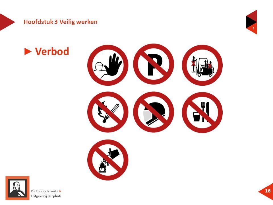 Hoofdstuk 3 Veilig werken 16 ► Verbod